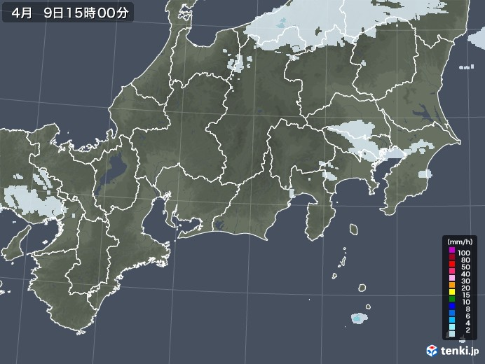 東海地方の雨雲レーダー(2021年04月09日)