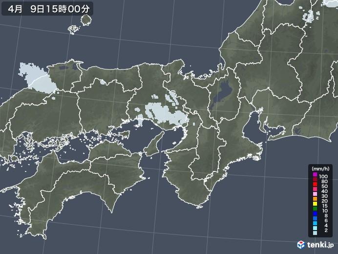 近畿地方の雨雲レーダー(2021年04月09日)