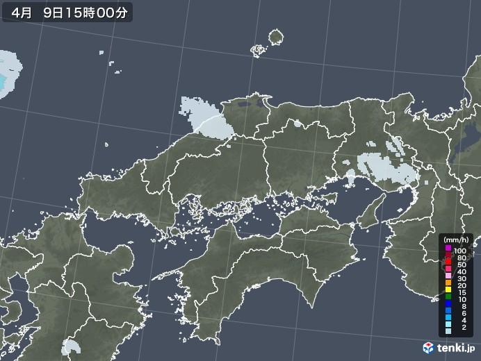 中国地方の雨雲レーダー(2021年04月09日)
