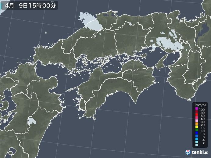 四国地方の雨雲レーダー(2021年04月09日)