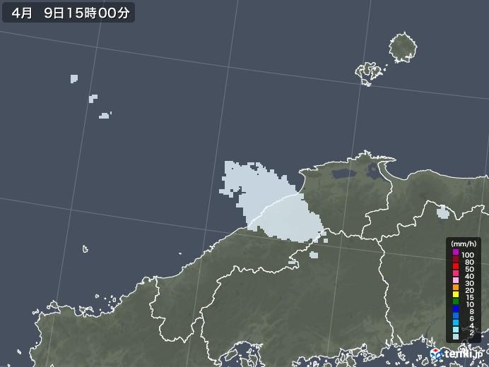 島根県の雨雲レーダー(2021年04月09日)