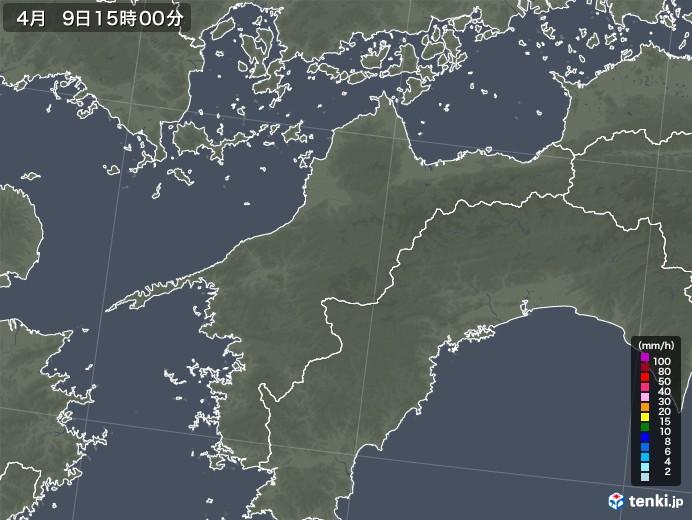 愛媛県の雨雲レーダー(2021年04月09日)