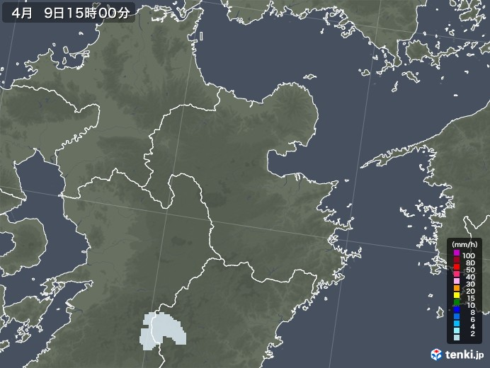 大分県の雨雲レーダー(2021年04月09日)