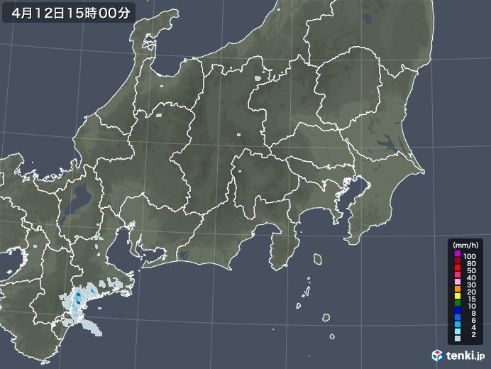関東・甲信地方の雨雲レーダー(2021年04月12日)