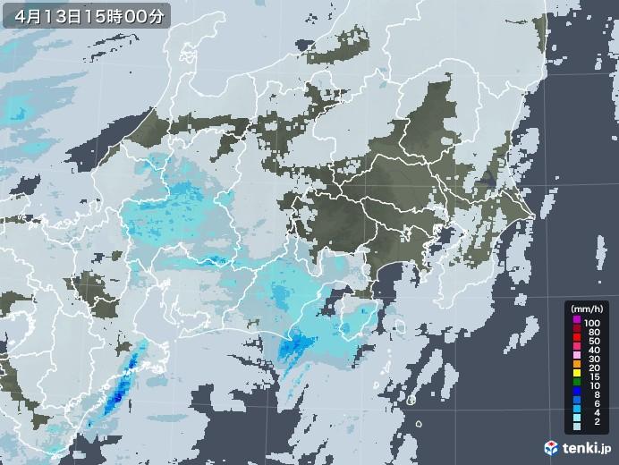 関東・甲信地方の雨雲レーダー(2021年04月13日)