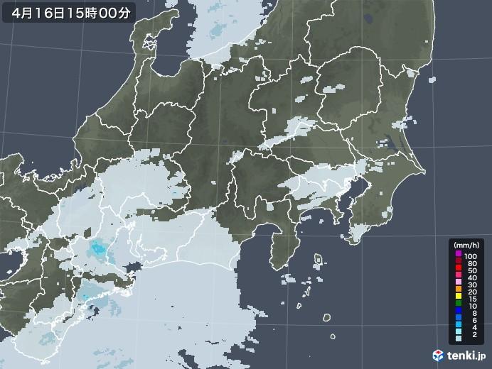 関東・甲信地方の雨雲レーダー(2021年04月16日)