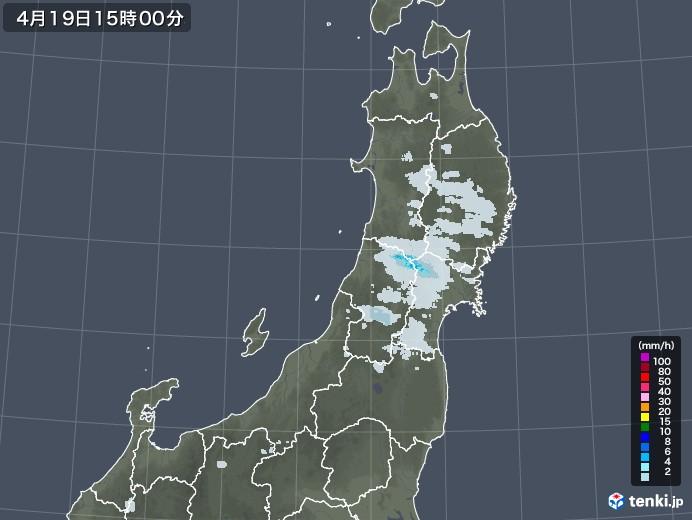 東北地方の雨雲レーダー(2021年04月19日)