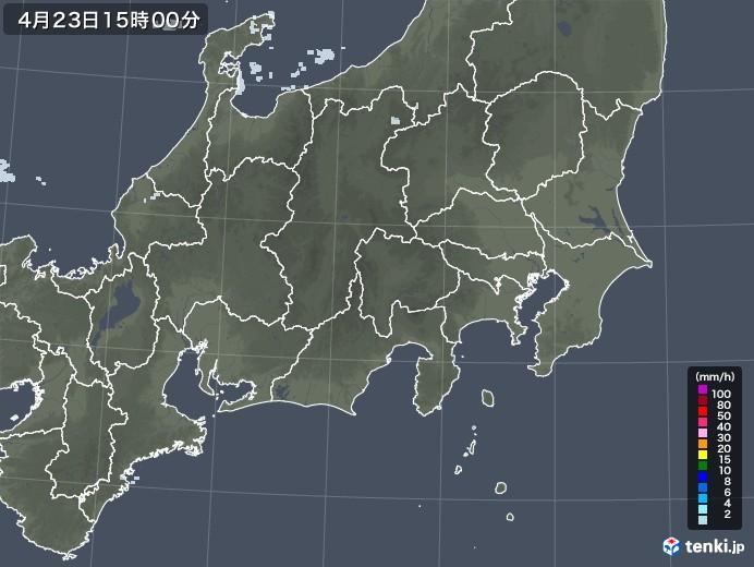 関東・甲信地方の雨雲レーダー(2021年04月23日)