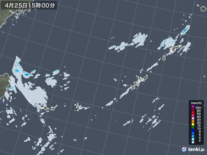 沖縄地方の雨雲レーダー(2021年04月25日)