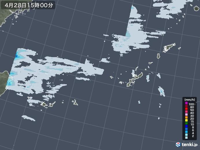 沖縄地方の雨雲レーダー(2021年04月28日)