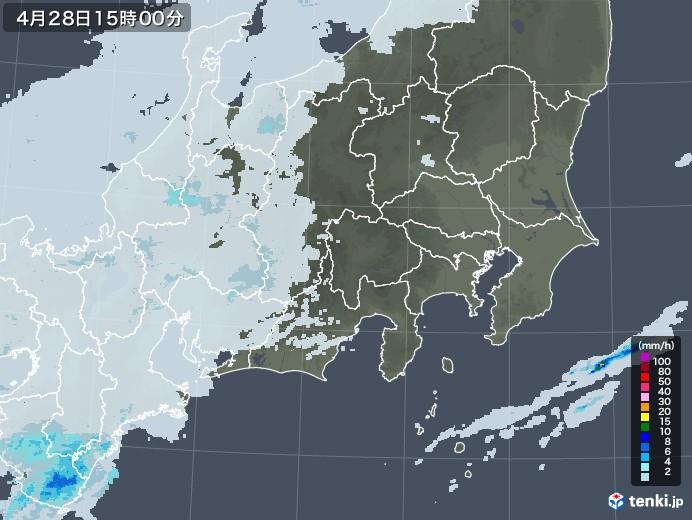 関東・甲信地方の雨雲レーダー(2021年04月28日)
