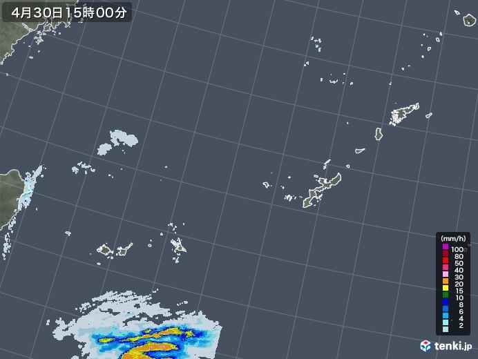 沖縄地方の雨雲レーダー(2021年04月30日)