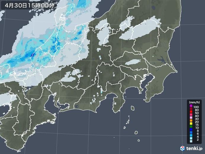関東・甲信地方の雨雲レーダー(2021年04月30日)