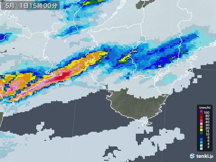 和歌山県の雨雲レーダー(2021年05月01日)