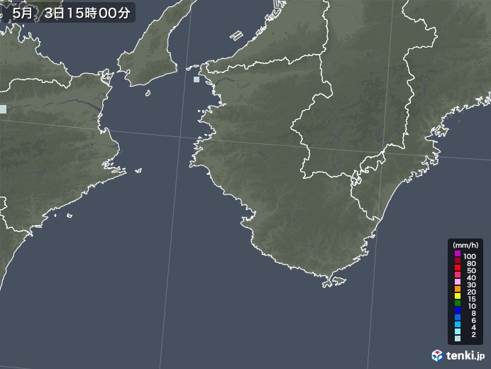 和歌山県の雨雲レーダー(2021年05月03日)