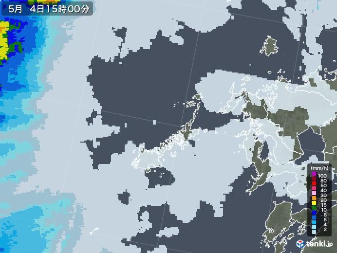 五島列島(長崎県)の雨雲レーダー(2021年05月04日)