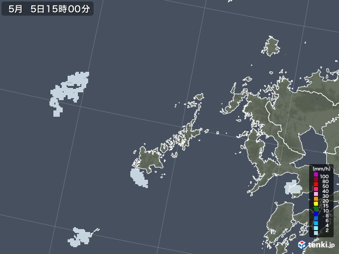 五島列島(長崎県)の雨雲レーダー(2021年05月05日)