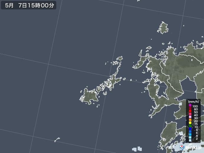 五島列島(長崎県)の雨雲レーダー(2021年05月07日)