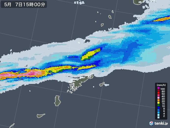 奄美諸島(鹿児島県)の雨雲レーダー(2021年05月07日)