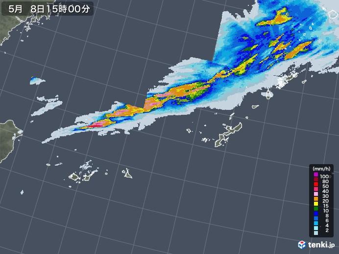 沖縄地方の雨雲レーダー(2021年05月08日)