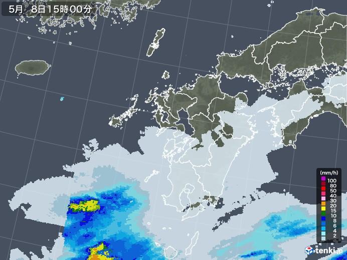九州地方の雨雲レーダー(2021年05月08日)