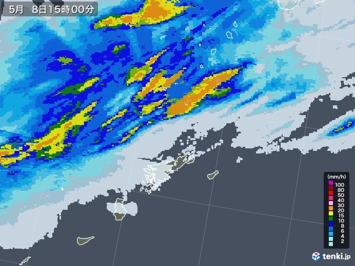 奄美諸島(鹿児島県)の雨雲レーダー(2021年05月08日)