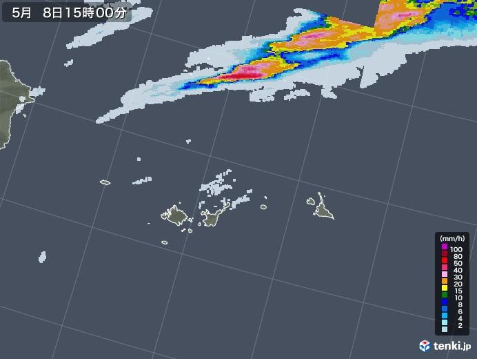 宮古・石垣・与那国(沖縄県)の雨雲レーダー(2021年05月08日)