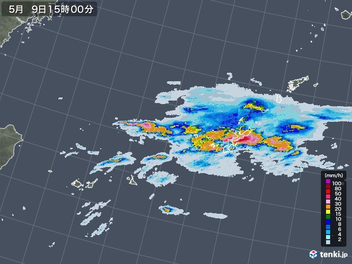 沖縄地方の雨雲レーダー(2021年05月09日)
