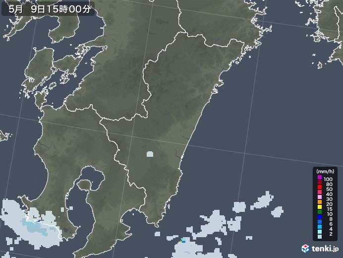 宮崎県の雨雲レーダー(2021年05月09日)