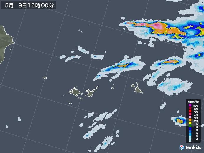 宮古・石垣・与那国(沖縄県)の雨雲レーダー(2021年05月09日)