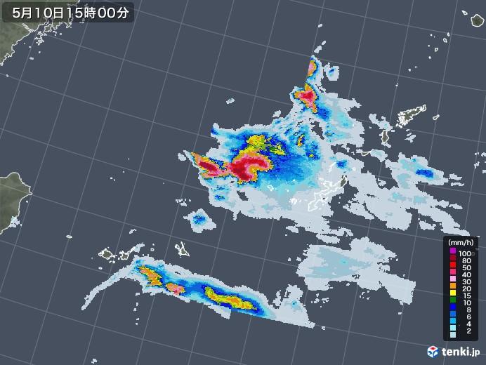 沖縄地方の雨雲レーダー(2021年05月10日)