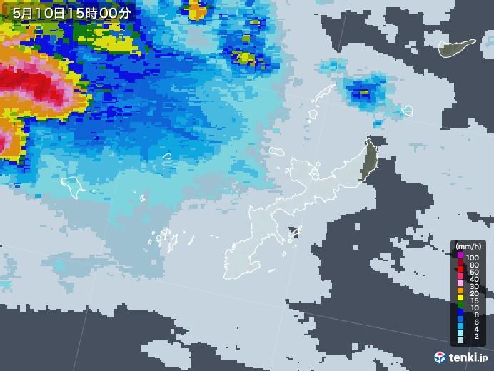 沖縄県の雨雲レーダー(2021年05月10日)