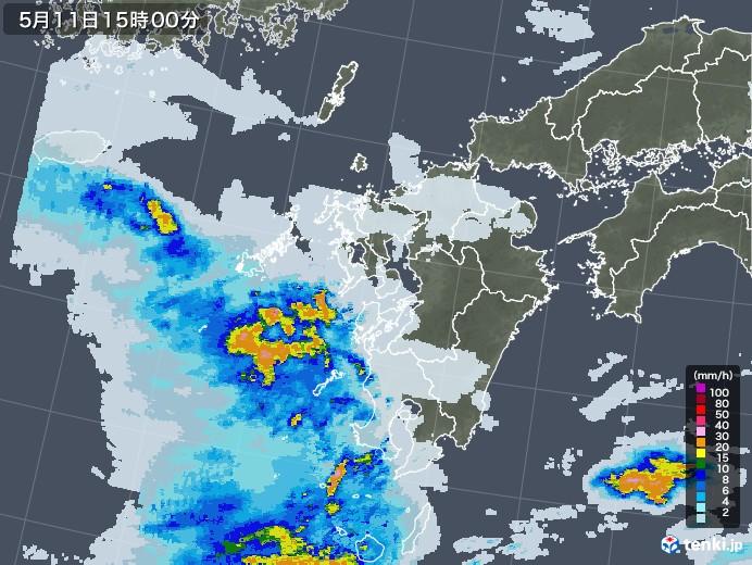 九州地方の雨雲レーダー(2021年05月11日)