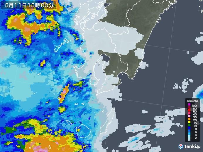 鹿児島県の雨雲レーダー(2021年05月11日)
