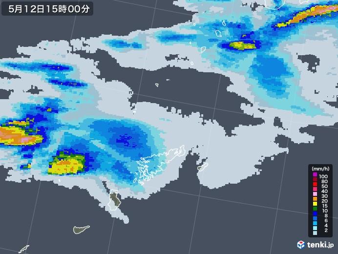 奄美諸島(鹿児島県)の雨雲レーダー(2021年05月12日)