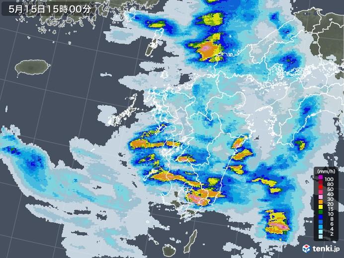 九州地方の雨雲レーダー(2021年05月15日)