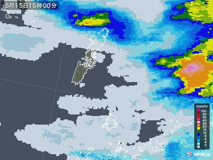 壱岐・対馬(長崎県)の雨雲レーダー(2021年05月15日)