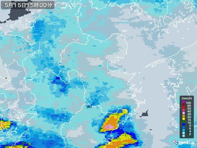 大分県の雨雲レーダー(2021年05月15日)