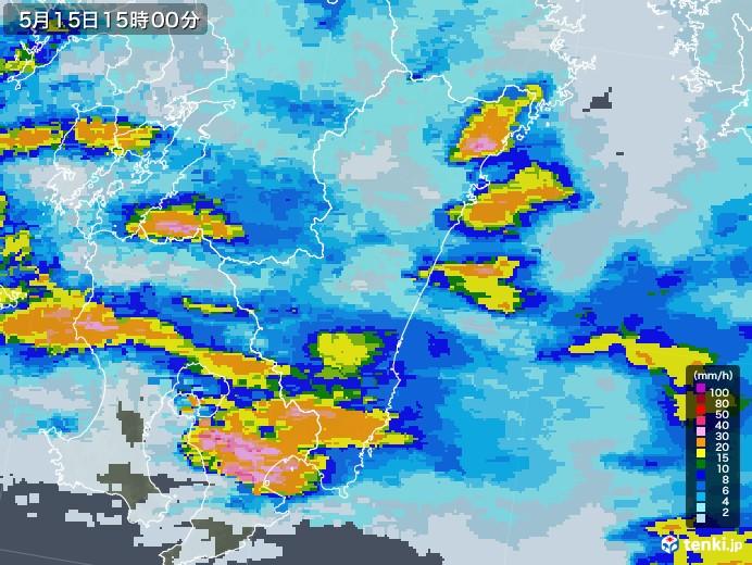 宮崎県の雨雲レーダー(2021年05月15日)