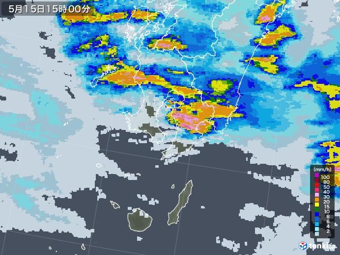 鹿児島県の雨雲レーダー(2021年05月15日)