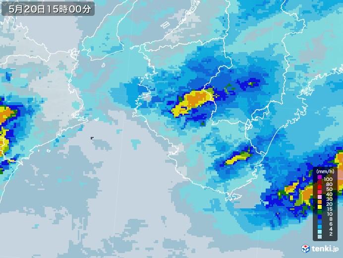 和歌山県の雨雲レーダー(2021年05月20日)