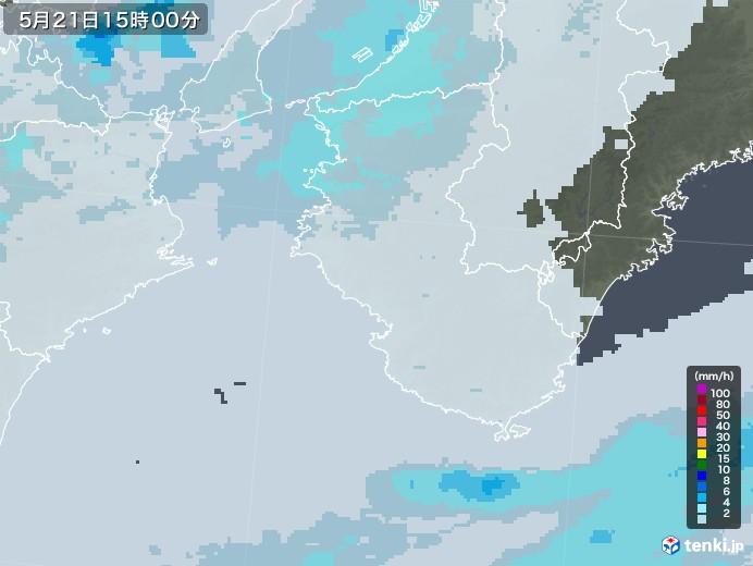 和歌山県の雨雲レーダー(2021年05月21日)