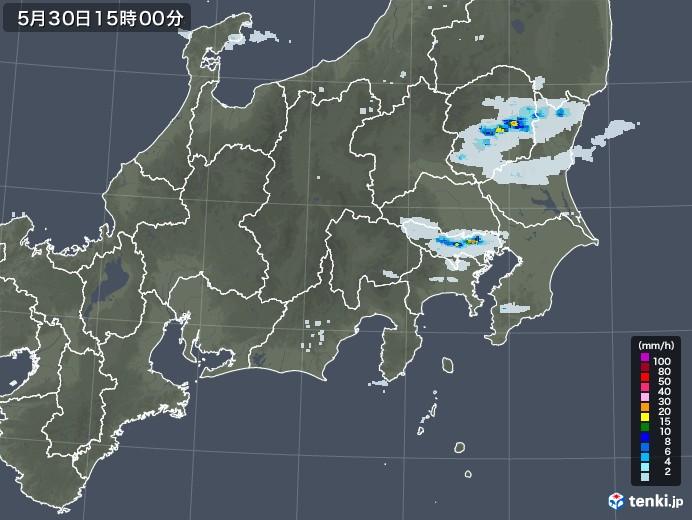 関東・甲信地方の雨雲レーダー(2021年05月30日)