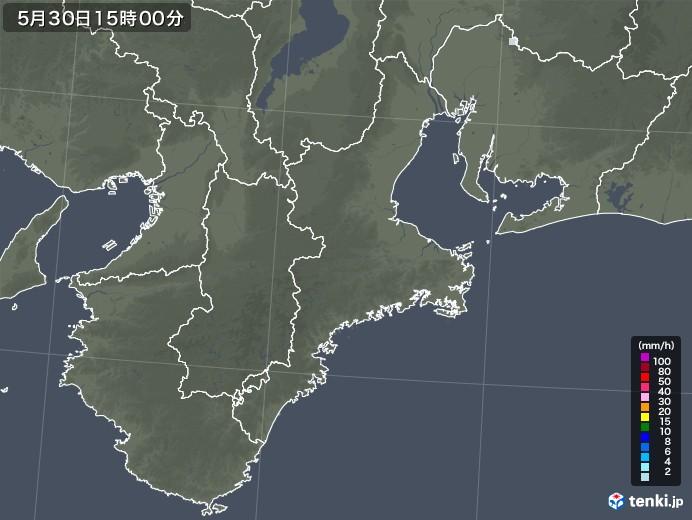 三重県の雨雲レーダー(2021年05月30日)