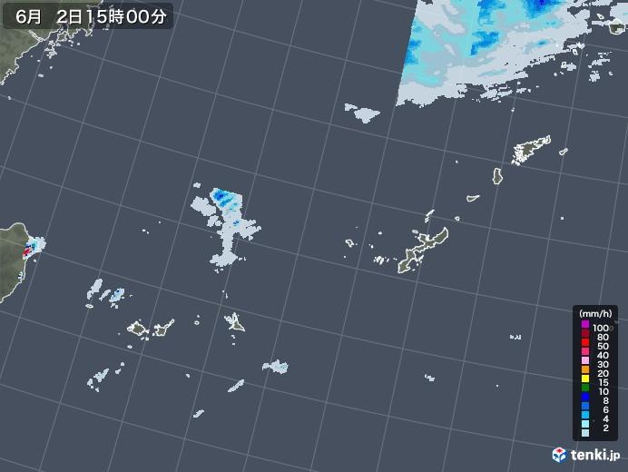 沖縄地方の雨雲レーダー(2021年06月02日)