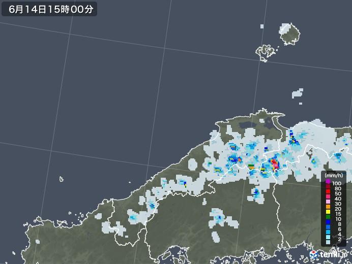 島根県の雨雲レーダー(2021年06月14日)