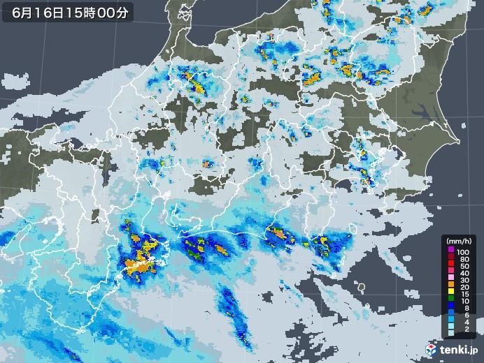 東海地方の雨雲レーダー(2021年06月16日)