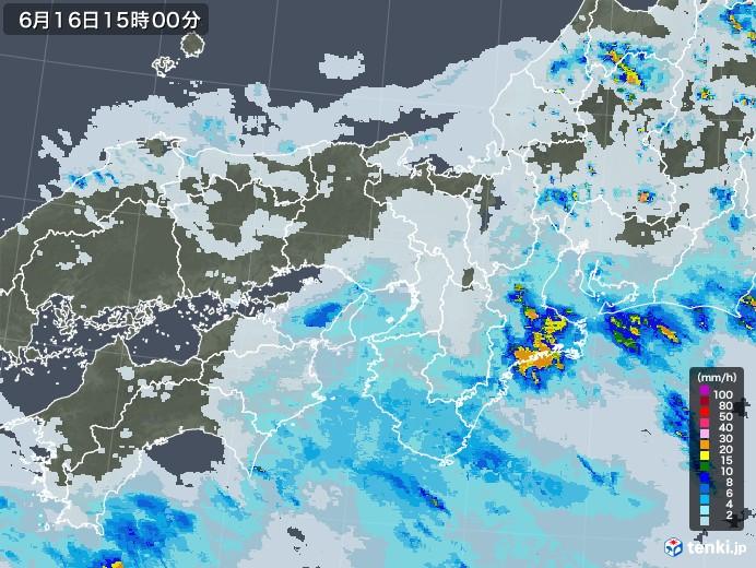 近畿地方の雨雲レーダー(2021年06月16日)