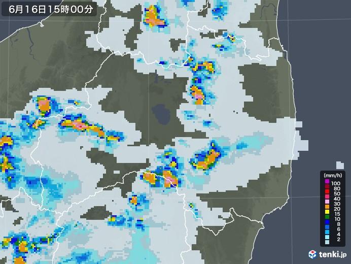 福島県の雨雲レーダー(2021年06月16日)