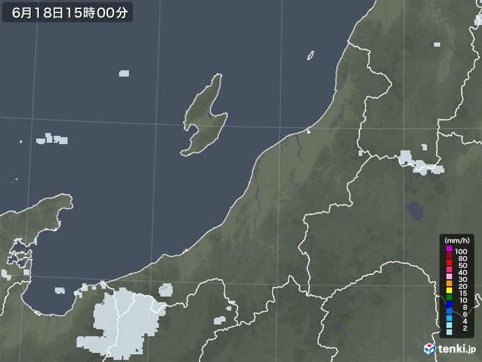 新潟県の雨雲レーダー(2021年06月18日)